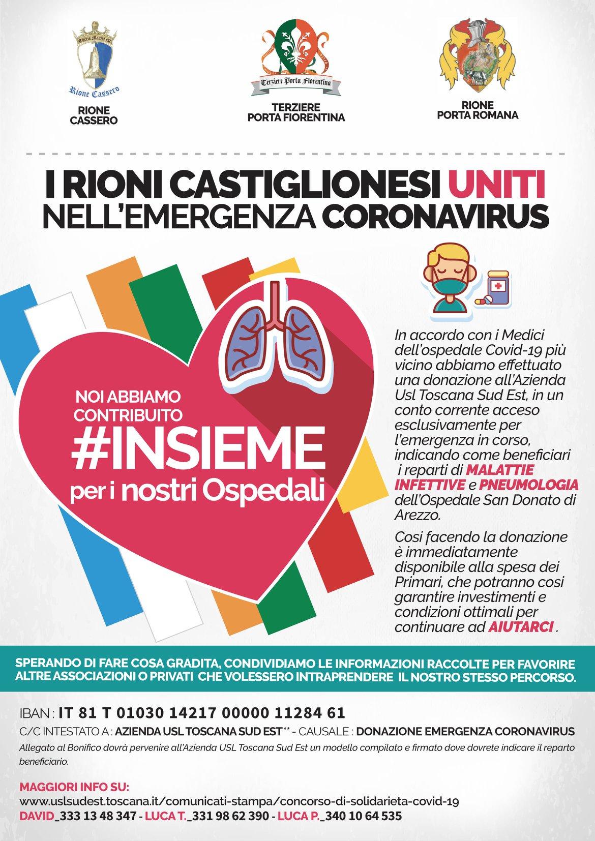 Castiglion Fiorentino: i tre rioni hanno fatto una donazione all'Ospedale di Arezzo